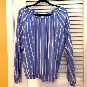 H & M | minimalist blue & white cotton blouse 10